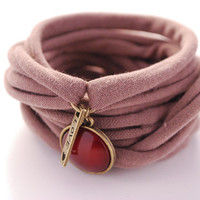TAUPE Love Wrap Bracelet with Deep RED Cabochon Stretch Wrist Bracelet Fashion accessory Women Teens Wrist Tattoo Cover