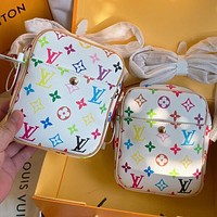 Louis Vuitton LV Women's Multicolor Printed Letter Small Phone Bag Crossbody Bag