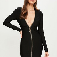 Missguided - Peace + Love Black Long Sleeve Bandage Dress