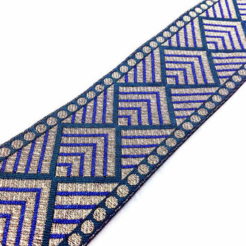 Gold, Peacock Green and Blue Brocade Border - Phulkari Pattern Brocade Border Lace / Ribbon