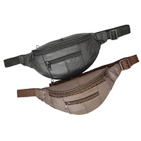 Genuine Leather Slim Waist Pack Pouch with Zippered Pockets 007 (C)