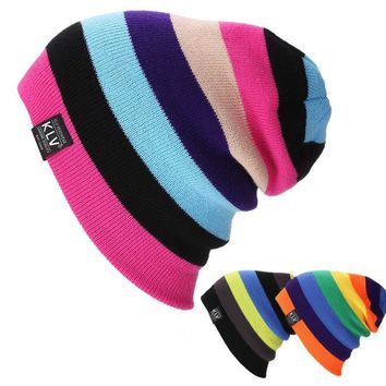 Unisex Women Warm Winter Baggy Beanie Knit Crochet Oversized Hats Slouch Cap