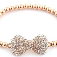 2 Pieces of Goldtone with Clear Iced Out 3D Bow Bracelet with Metal Beaded Disco Balls Shamballah