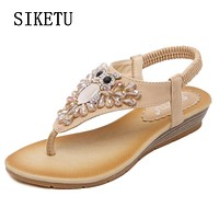 2017 summer new woman fashion sandals slope with casual comfortable diamond beads women sandals large size banquet sandals 40