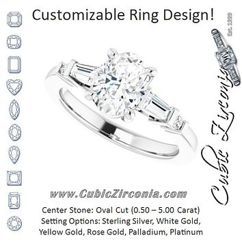 Cubic Zirconia Engagement Ring- The Belem (Customizable 5-stone Baguette+Round-Accented Oval Cut Design))