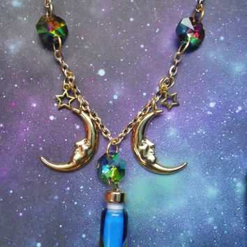 Gold Moons Lava Lamp Crystal necklace by lotusfairy on Etsy