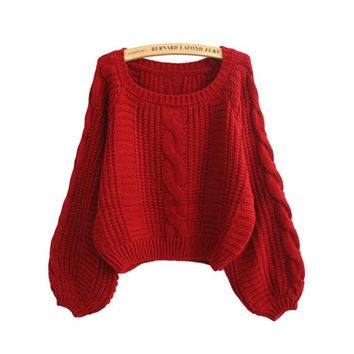Winter Knit Tops Crop Top Twisted Lights Thicken Sweater [8422525633]