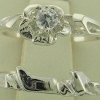 NEW GENUINE DIAMOND ENGAGEMENT RING WEDDING RING MATCHING SET SOLID SILVER FREE SHIPPING SIZES 4-9