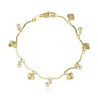 Two Year Warranty Gold Overlay Mini Heart Charms & Dangling Stones Adjustable 7 Inch Bracelet