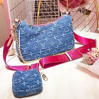 LV Fashion New Monogram Print Canvas Wallet Shoulder Bag Crossbody Bag Two Piece Suit Blue