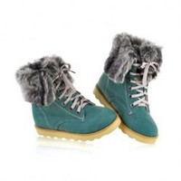 Stylish Casual Women's Combat Boots With Solid Color Lace-Up and Imitation Fur Design