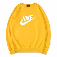 NIKE Autumn And Winter Fashion New Letter Hook Print Long Sleeve Top Sweater Yellow