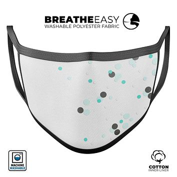 Abstract Scattered Black and Teal Dots - Made in USA Mouth Cover Unisex Anti-Dust Cotton Blend Reusable & Washable Face Mask with Adjustable Sizing for Adult or Child