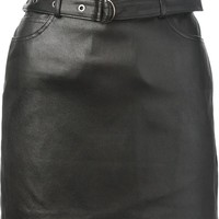 System leather mini skirt