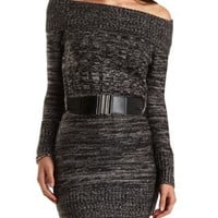 Cowl Neck Marled Sweater Dress by Charlotte Russe - Black Combo