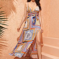 Plunging Scarf Print Slit Side Belted Cami Dress