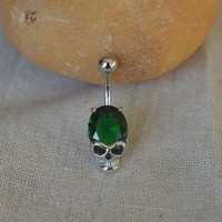 sale-belly button jewelry skull bellyring steampunk belly button piercing,bff belly ring