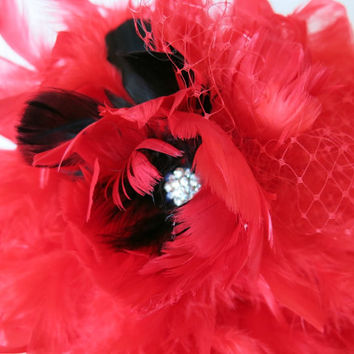 Red Black Wedding Bridal Feather Bouquet Ribbon Rhinestones Full and Floaty Chandelle