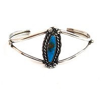 Native American Navajo turquoise sterling silver vintage cuff NA 925