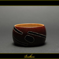Brothers - Handpainted Wooden Bracelet - G1BR00004 - on Etsy by MATILDA
