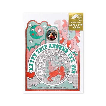 Astrology Birthday Card + Pin Combo - Sagittarius