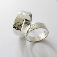 Hammered Silver Wedding Rings - Set of Two Rings - His and Hers- Eco Friendly Recycled