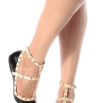 Black Patent Studded Pointed Toe Flats