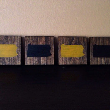 Pick Colors, Pennsylvania Wood Coasters, Pennsylvania Coasters, Set of 4, Stained and Hand Painted, Pennsylvania decor