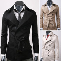 New Korean Men's Slim Fit Front Button Waist Belt Trench Cotton Coats Jacket Y32
