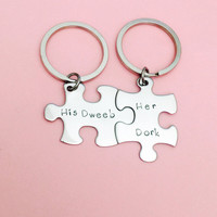 His Dweeb Her Dork, Couples Keychains, Couples Puzzle Keychains , Anniversary Gift