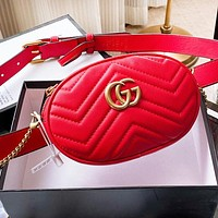 GUCCI Classic Women Men Leather Waist Bag Chest Bag Crossbody Satchel Shoulder Bag Red