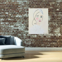 Mixed Media Girl Portrait- Original Acrylic Painting- Illustrated Fashion Art- On Canvas- 16X20 inches.