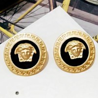 Versace New fashion human head round earring women accessories Golden