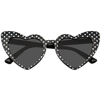 Polka Dot Cat Eye Womens Fashion Mod Super Cat Heart Shape Sunglasses