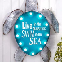Metal Wall Hanging Sign Plaque Lighted Sea Turtle Indoor Outdoor Beach Decor