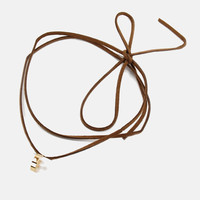Double Wrap Leather Choker - Brown