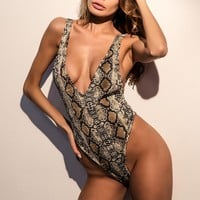 Women Fashion Snake Print Backless Sleeveless Deep V-Neck Bodycon Show Thin Jumpsuit Bodysuit
