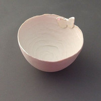 Handmade Porcelain Bowl with Pearly Butterfly - Large - New Home Gift