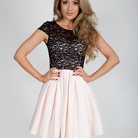 Nude & Black Lace Skater Dress with Cap Sleeves&Cutout Back