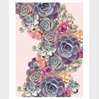 «Succulents on pink» Art Print by Jace Anderson - Numbered Edition from $24.9 | Curioos