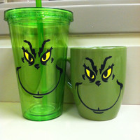 Grinch tumbler and coffe mug set