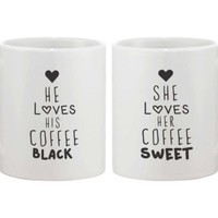 Black Coffee Sweet Coffee Couple Mugs - 365 Printing Inc