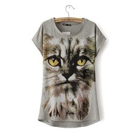 Cats Print Animal Pattern Round-neck Pullover Tops T-shirts [6047832769]