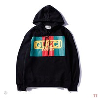 GUCCI 2018 autumn and winter models men and women wild long-sleeved hooded loose coat black