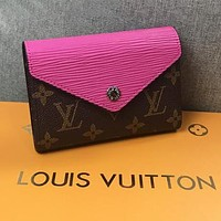 LV Louis Vuitton Stylish Women Chic Leather Purse Wallet Rose Red
