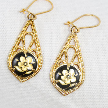 Vintage Flower on Black Tear Drop Earring