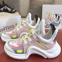 LV Louis Vuitton Fashion casual all-match cowhide thick-soled inner increase daddy shoes sneakers