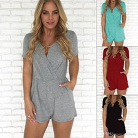2019 Summer Women Clothes Short Sleeve V Neck Skinny Short Pants Split T Shirt Women's Sexy Jumpsuits And Rompers Plus Size Women Clothing