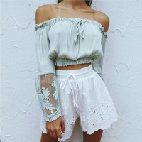 SEYAM Summer Women Tees Chiffon Sheer Full Sleeve Lace Crochet Patchwork Off Shoulder European Style Female Cropped Top PL0456
