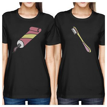 Toothpaste and Toothbrush Funny Graphic Design BFF Matching Shirts